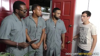Sara Jay gets ganbanged by black dudes in front of her son Rough big