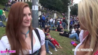 Aische Pervers - Pornocasting auf dem Oktoberfest - Teil 1  german deutsch aische pervers pornocasting oktoberfest wiesn rothaarig outside point-of-view public casting