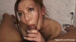 She gives him a blowjob in the bath Japanese tickle