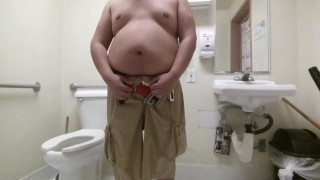 Tiny Dick Chub Boy Covered In Piss In Public Restroom Masturbation squirt