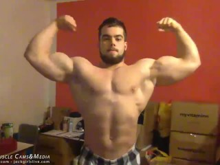 Young Hunk with Huge Arms Flexes - SFW