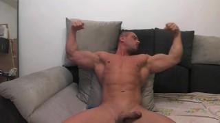 Muscle jock shoots load on cam