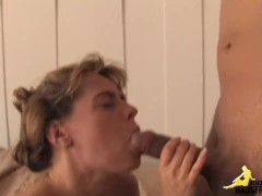 Girl masturbates with soft pretzel