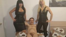 Andrea Dipre tries to fuck Mistress Kelly Viola and Mistress Lara Von Lush