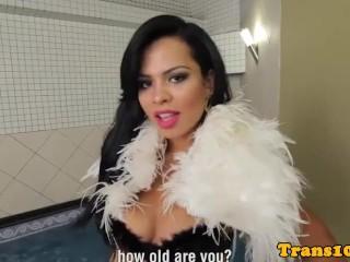 Gorgeous latina trans pleasuring her asshole