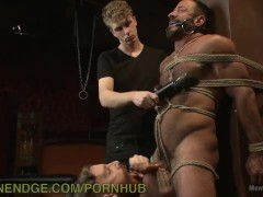 Muscle-Bound Hunk Tied Up And Teased
