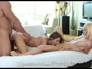 Passion-HD – Macy Winslett and Sammie Daniels tag team guy in threesome