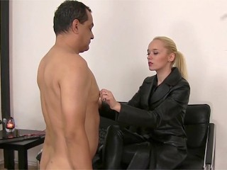 Total free porn dominatrix in black leather playing with a slave blonde dominatrix mi