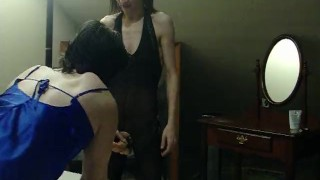 I make my sissy husband suck my strapon crossdresser femdom milf sissy kink sissy-training strapon femdom-strapon mother cuckold-husband strap-on crossdresser-blowjob dominant-wife sissy-husband cuckold-humiliation