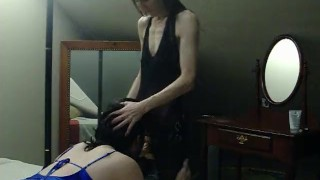 I make my sissy husband suck my strapon  strap on femdom strapon cuckold husband strapon crossdresser femdom milf sissy kink mother sissy training crossdresser blowjob sissy husband cuckold humiliation dominant wife