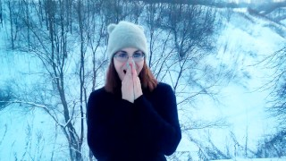 Hot Blowjob and Sex in outdoor SNOW Homemade redhead