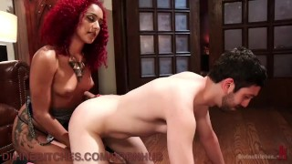 Domme Makes Husband Suck Stud's Dick  dominatrix bdsm cuckold submission humiliation redhead femdom goddess black tattoo domination kink 3some bondage punish divinebitches hunk leash