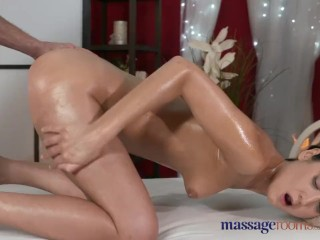 Massage Rooms Young horny Russian has her tiny hole filled with hard meat