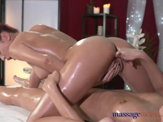 Massage Rooms Vietnamese beauty slips slowly inside young lesbian's pussy
