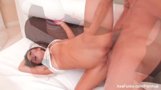Sexy Asa Akira swallows his cum  babe asian puba cumshot asaakira big-boobs skinny swallow socks asafucks big-dick doggy style blowjob pornstar tattoo hardcore japanese gagging cum-in-mouth