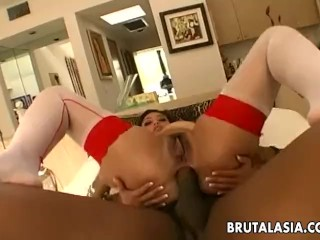 Vibrant and curvy brunette gets ass fucked with a bbc