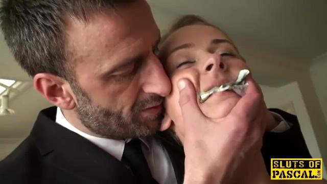 Free cum guzzling British 18yo guzzles maledoms cum on her bday