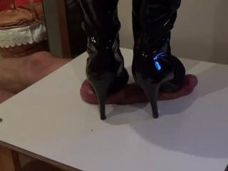 CBT under cruel high heels. Brutal crushing, finished with cumshot.