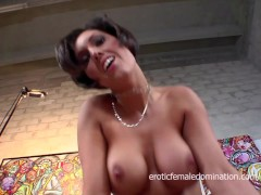 Incredibly busty brunette milf picked up and fucked on the couch