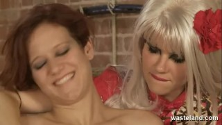 Naked lesbian in her blonde slave girl hot covers dominatrix wax tied submission