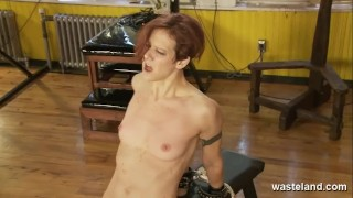 Blonde Lesbian Dominatrix covers her naked slave girl in hot wax
