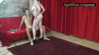 CHUBBY whore teases and dances for sportsman after interview Cum strip