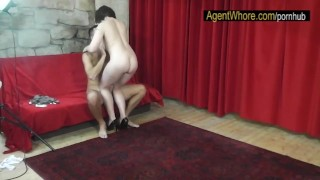 CHUBBY whore teases and dances for sportsman after interview My cuckold