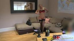 FakeAgentUK Hot tattooed babe swallows cumshot in casting