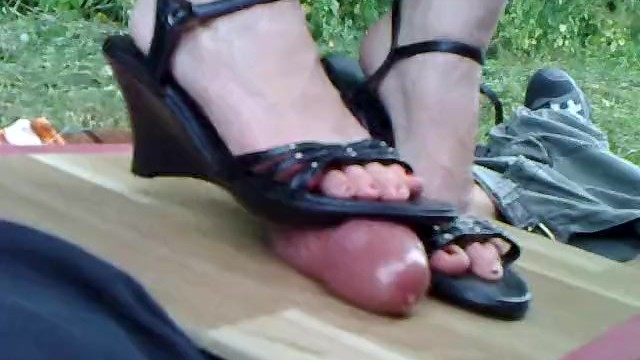 Vintage wedge boots Amateur pov - cockcrushing in wedge boots 1