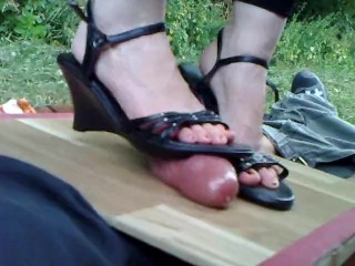 Amateur POV - Cockcrushing in wedge boots 1