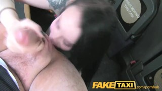 FakeTaxi lady in stockings gets creampied Cum orgasm