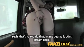 FakeTaxi lady in stockings gets creampied Natural hardcore