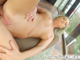 Asstraffic blonde gets her holes filled with dick