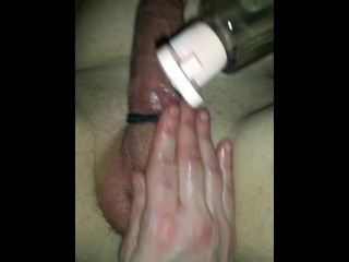 GF milks prostate with home made cock ring on