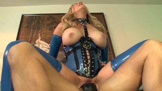 Bossy blonde fucked on a couch in latex gloves a corset and stockings  lingerie big cock mom blonde fetish milf hardcore kink gloves heels cougar latex mother stockings corset big boobs shaved lingerielover