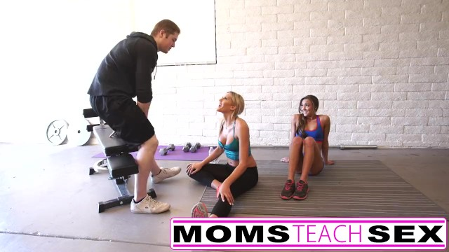 Big tit milf teaches daughter - Steamy workout turns hardcore with step mom and step daughter