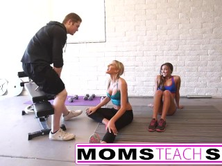 Free Pussy Eating Porn Sites Steamy workout turns hardcore with Step mom and Step daughter