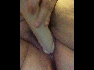 Dildoing fat pussy
