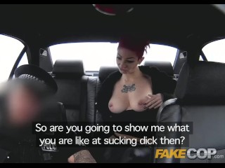 Fake Cop Policeman spunks on her tattoos and tits