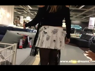 Retro Housewife Upskirt And Flashing No Panties In A Famous Shop, Amateur Public Milf