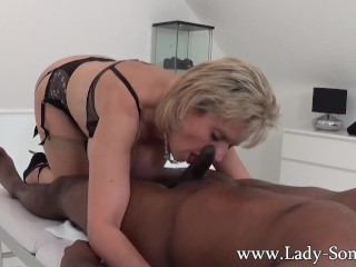 Lady Sonia black guy massage, handjob, blowjob and titjob – the works!