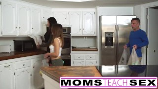 Preview 1 of Step Mother fucks Step son and tiny Latina girlfriend