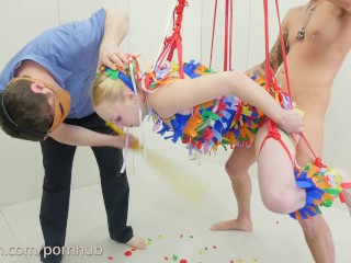 Anal Pinata Girl -- hot blond gets the sweetness assfucked out of her