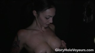 Sexy Brunette Sucks Cock in Gloryhole cumshot gloryholevoyeurs swallow milf brunette tattoos bj reality blowjob gloryhole facial