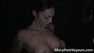 Sexy Brunette Sucks Cock in Gloryhole  big tits bj blowjob gloryhole cumshot milf cock sucking brunette reality swallow gloryholevoyeurs tattoos facial big boobs