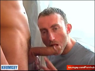 A nice innocent str8 guy serviced his big cock by a guy in spite of him!
