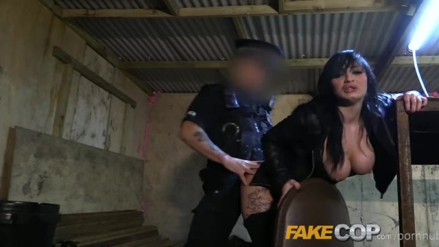Latex faux copper glaze Fake cop masked robber fucked by fake copper