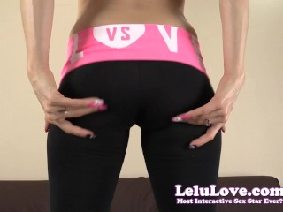 Giving you jerkoff encouragement in clear heels and yoga pants