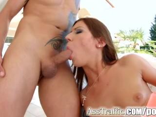 Tall round ass brunette Regina in anal scene on Ass Traffic