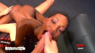 Beauty ebony gangbang blowjob
